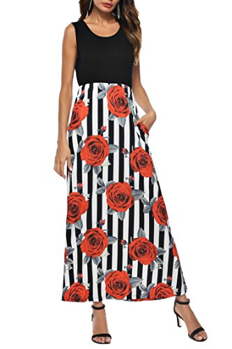 Ortilerri Women's Summer Sleeveless Floral Print Maxi Dress With Pocket(Black 3, ()