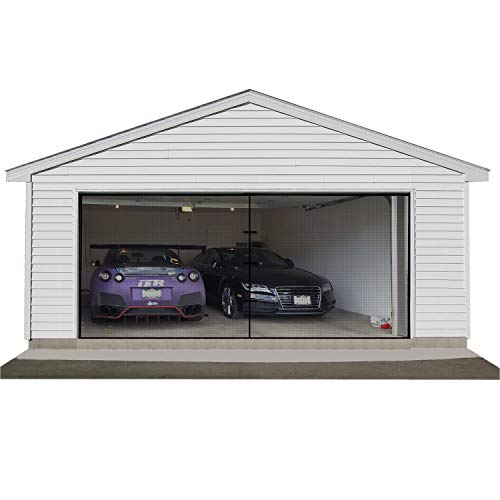 Double Garage Door Screen, 16 x 7 Car Door Net Mesh with Hook and Loop Garage Screen Cover Kit Garage Door Curtain for Block Bug Mosquitoes
