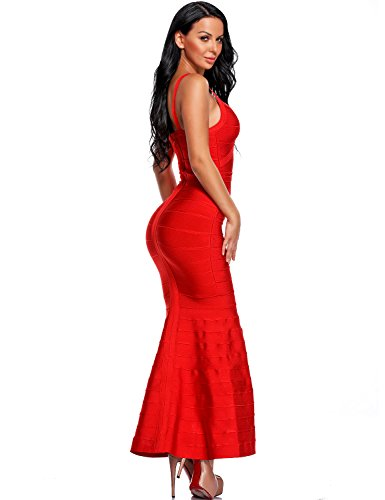 d7fcac2772 Hego Women s V-neck Backless Fishtail Red Bandage Formal Evening Dresses  Long H2082 (M