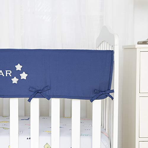 TILLYOU Personalized Padded Baby Crib Rail Cover Protector Safe Teething Guard Wrap for Long Front Rails 100% Silky Soft Microfiber Polyester - Embroidered and Reversible - Navy Blue, My Shining Star