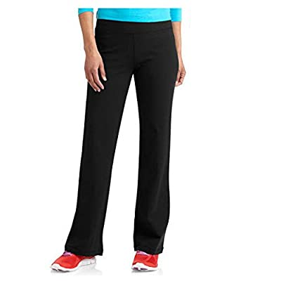 Danskin Now Womens Dri-More Core Bootcut Yoga Workout Pants - Regular or Petite (Large, Black)