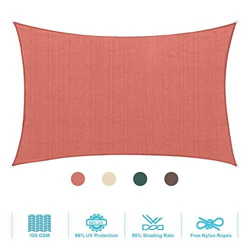 (PHI VILLA Sun Shade Sail Rectangle 12'x16' Terra Cotta Patio Canopy Cover - UV Bloack - for Patio, Garden, Yard, Pergola)