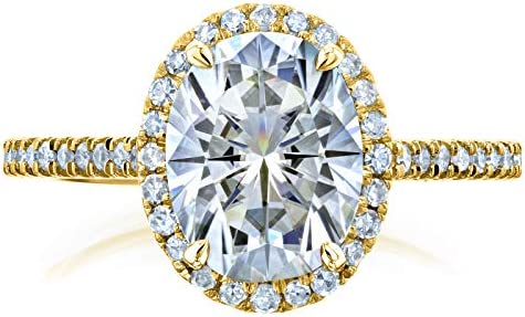 Kobelli Oval Moissanite Halo Engagement Ring 2 1/4 CTW 14k Yellow Gold
