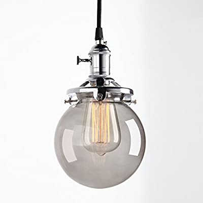 Industrial Factory 5.9 inch Round Glass Globe Modern Vintage Style Hanging Pendant Light Fixture with Smoke Gray Shade Fabric Wrapped Cord Exposed Hardware by Pathson Lights