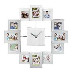 VonHaus Picture Frame Wall Clock - 12 Mini Photo Frames - Crop to Size Friends Family Pictures - Aluminum Silver