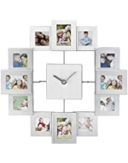 VonHaus Aluminium Photo Frame Clock for (8x) 4.5 x 4.5cm and (4x) 4.5 x 6.5cm Photographs | White | Multi Aperture Collage Picture Display | Gift for Friends/Family