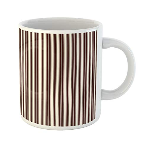 Emvency Funny Coffee Mug Outline Vertical Stripes Abstract Thin Straight Line with Simple Classic 11 Oz Ceramic Coffee Mug Tea Cup Best Gift Or -