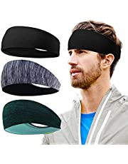 Mens Sports Headbands 3 Pack Men's Workout Sweatbands Double-Layer Elastic Sports Headband for Yoga/Running/Cycling/Fitness Exercise