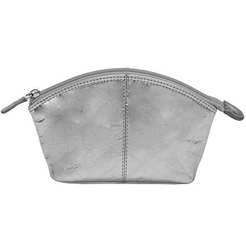 ili New York 6480 Leather Cosmetic Makeup Case (Silver)