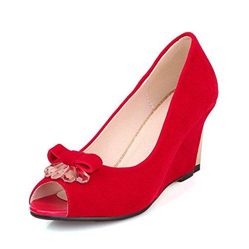cordones Plataforma Sólido Sin Mujeres Rojo Sandalia Cuero AllhqFashion Peep EqYZwI6
