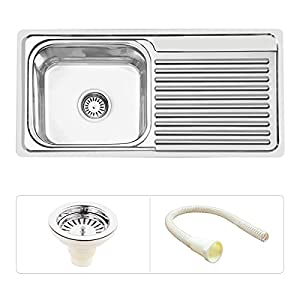 Ruhe S24 Kitchen Sink with Drain Board , Silver, Glossy Finish