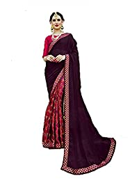 Mirraw Classiques Purple Printed Chiffon Saree with Unstitched Blouse