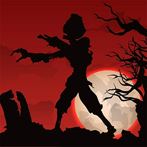 OFILA Halloween Party Backdrop 6.5x6.5ft Creepy Graveyard Photos Background Zombie Game Shoots Bats Full Moon Night Happy Halloween Events Kids Halloween Photo Shoot Studio Props ()