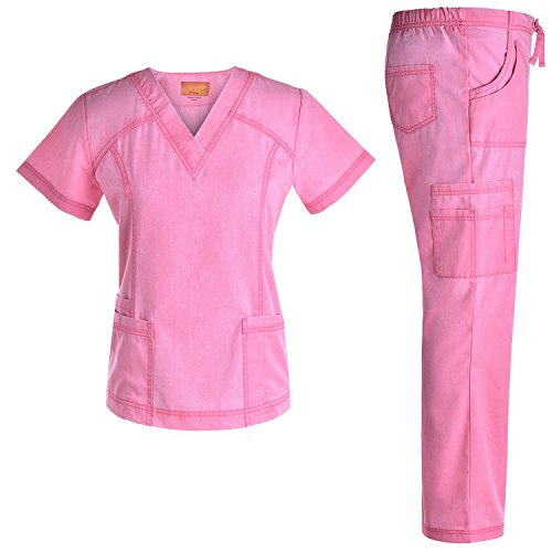 Jeanish V Neck Scrubs Set Superior Softness Washed Lady Women Scrubs Medical Uniforms Top and Pants JS1605 (Pink, S)