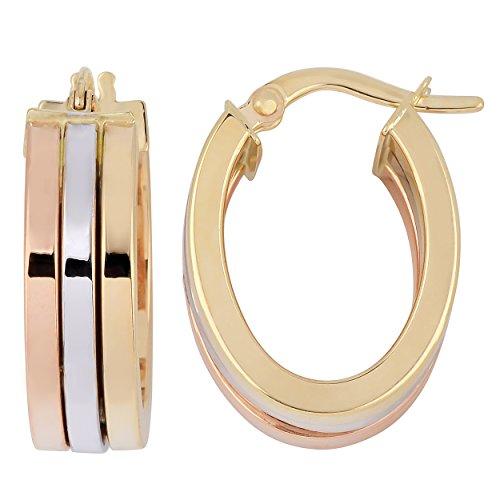 Kooljewelry 10k Tri-color Gold Polish Triple Oval Hoop Earrings ()