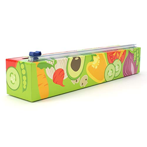 Chicwrap Veggies Refillable Plastic Wrap Dispenser/Slide Cutter and 250' of Professional BPA Free Plastic Wrap