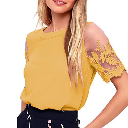 - Shy Velvet Women's V Neck 3/4 Bell Sleeve Chiffon Blouse Mesh Panel Loose Top Shirts