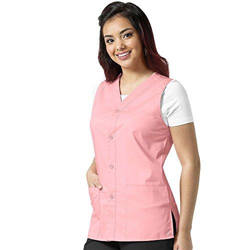 WonderWork Unisex Button Front Solid Scrub Vest Xx-Large Pink (Pink Scrub Adult)