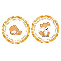 Fox Thank You Stickers 24 pcs, Forest Animals Favors Birthday Decoration Party Supplies, Woodland Baby Shower Themed Celebration