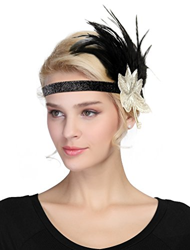 Women's Vintage 1920s Great Gatsby Flapper Headband Feather Wedding Party Headpiece (#5 Black)
