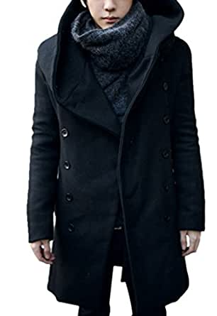 Geval Men's Winter Warmable Woollen Trench Jackets With