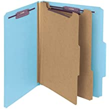 """Smead PressGuard Classification Folder with SafeSHIELD Fasteners, 2 Dividers, 2"""" Expansion, Letter, Blue, 10 each per box  (14204)"""