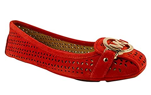 MICHAEL Michael Kors Womens Fulton Moccasin Closed Toe Casual Leather Flat Sandals, Red, Size 5