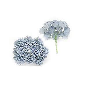 Savvi Jewels 2cm Blue Mulberry Paper Flowers with Wire Stems, Babys Breath Flowers, Mini Paper Flowers, Gypsophila Wedding Decoration Craft Flowers 50 Pieces 2
