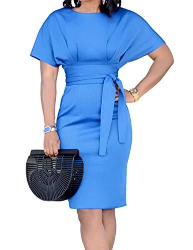 YCOOCE Womens Bodycon Short Sleeve Knee Length Pencil Dresses with Belt Blue