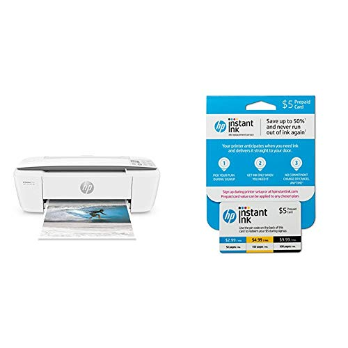 Hp Deskjet 300 - HP DeskJet 3755 Compact All-in-One Wireless Printer with Mobile Printing, Instant Ink Ready - Stone Accent with Instant Ink Prepaid Card for 50 100 300 Page per Month Plans (3HZ65AN)