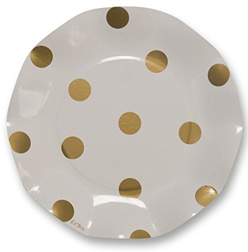 Sophistiplate Disposable Gold Polka Dot Paper Salad/Dessert Plates (Pack of 30) for Birthdays, Holidays, Parties, Showers, Cocktail Parties & Special Events and Entertaining