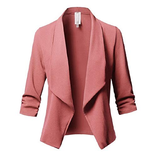 Open Front Solid RkBaoye Long Collar Turn Outdoor Down Pink Pleated Sleeve Coats Women's fqBw1O