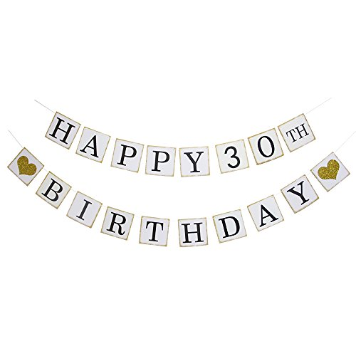(Happy 30th Birthday Banner - Gold Glitter Heart for 30 Years Birthday Party Decoration Bunting)