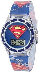 Superman Kids' SUP4021 Printed Superman Logo Analog Strap Watch