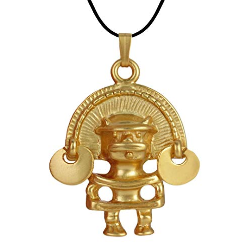 Across The Puddle, Historical Jewelry Collection, 24k Gold Plated Pre-Columbian Anthropomorphic Figure with Diadem (M) Pendant Necklace