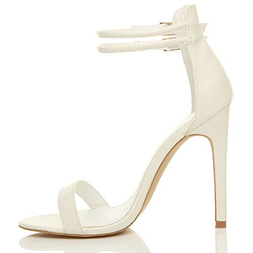 Women Size Barely Sandals Lizard High Strappy Ajvani Heel White Shoes There dxRqFFZw