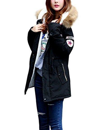 Ghope Grand Taille Femme Veste  Capuche Hiver Manteau Blouson Fille Chaud Parka Veston Militaire Hoodie Long Coton Polaire ,XS - 4XL Noir
