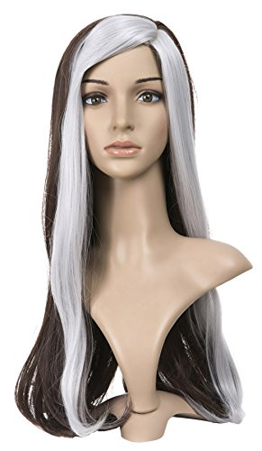 (ZUUC Womens Costume Halloween Party Cosplay Emulation Scalp Full Head Wig (Brown)