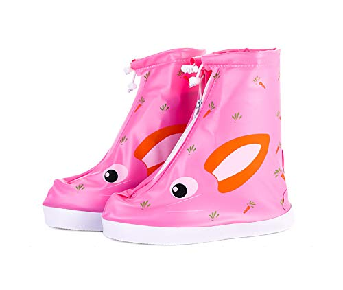 Kids Waterproof Shoe Cover 1 Pair Cartoon Rain Snow Boots Cover for Children Reusable Overshoes, Pink (Best Panda Superstore Rain Boots)