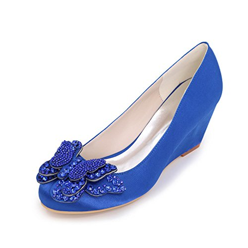 YC Heels Spring Blue Party Toe amp; Fall Heels Wedding Evening Wedges L Women's Summer Round Silk High dwqnCxpd4E