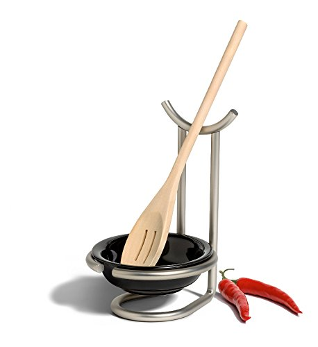 Spoon Rest With Ceramic Dish Kitchen Cooking Stand Utensil