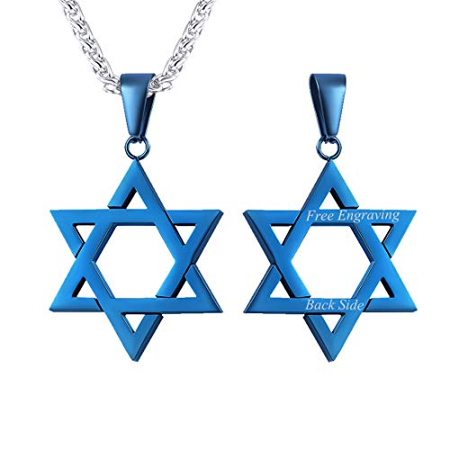 U7 Customized Text Engrave Ion-Plating Blue Star of David Necklace Pendant & Stainless Steel Chain 22