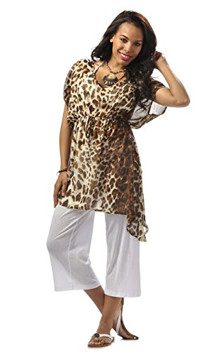 Rapz Women's Relaxed Fit Beach Wear Swimwear Bikini Cover up Top (2x/3x, brown animal print)