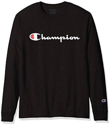 Champion Men's Classic Jersey Long Sleeve Script T-Shirt, Black X Lg