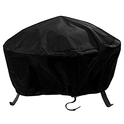 Sunnydaze Outdoor Round Fire Pit Cover - Weather Resistant and Waterproof Heavy Duty Black 300D Polyester with Drawstring Closure and PVC Back - 36-Inch