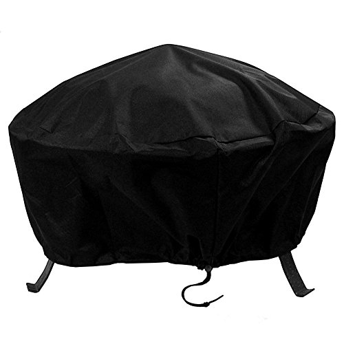 Sunnydaze Outdoor Round Fire Pit Cover - Weather Resistant and Waterproof Heavy Duty Black 300D Polyester with Drawstring Closure and PVC Back - 36-Inch (North Fire Pit Up)
