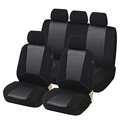 TOYOUN Car Seat Covers Full Set Universal Fit Airbag & Split Bench Compatible Jacquard Checked Pattern Fabric Full Auto Seat Covers Protector for Most Car, Truck, Van, SUV: Automotive