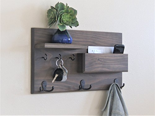 Entryway Traditional (Coat Rack Entryway Organizer Driftwood Weathered Gray Key Hooks and Mail Storage)