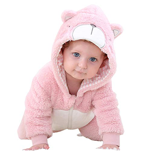 Kirmoo Baby Onesie Pajama Costumes Animals for Kids Toddler Boys Girls Zipper Hooded Romper Jumpsuit Outfits (80 (for 6~12 Months,Height 66~73cm), Pink Bear) -