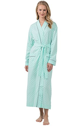 Long Mint (PajamaGram Classic Women's Robes Long - Lightweight Polka Dot, Mint, XS/S, 2-8)